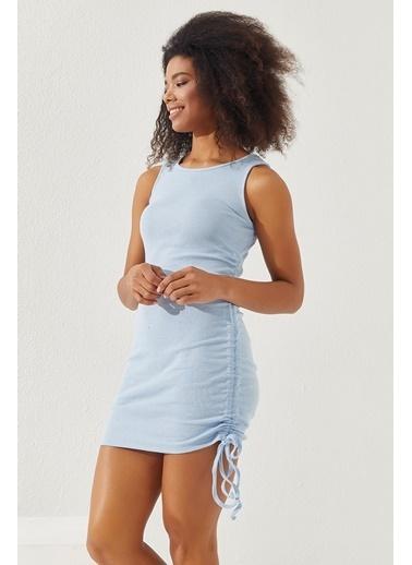 Reyon  Kadın Yanları Büzgülü Sıfır kol Elbise Gri Mavi